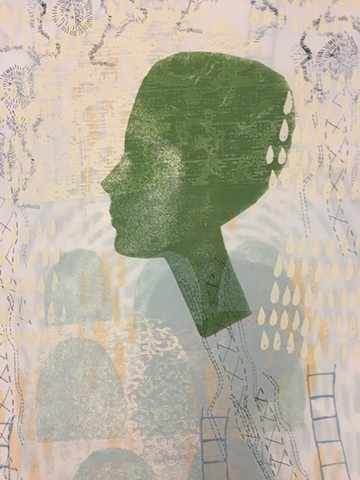 Elizabeth Jabar  mixed-media print, waxed, mounted on panel