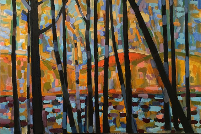 Fauvist landscape with shimmering water behind trees.