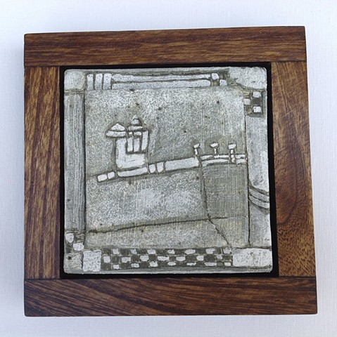 Winter Tile with Farm Yard