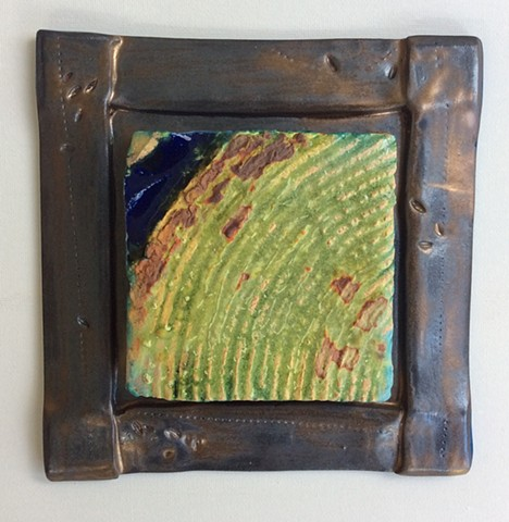Spring Green Field w Blue Triangle, frame