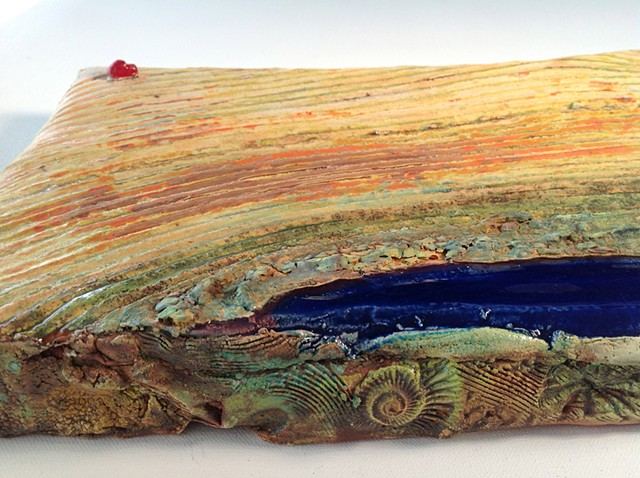 Large handbuilt ceramic wall piece. Aerial view.  Slice of land.