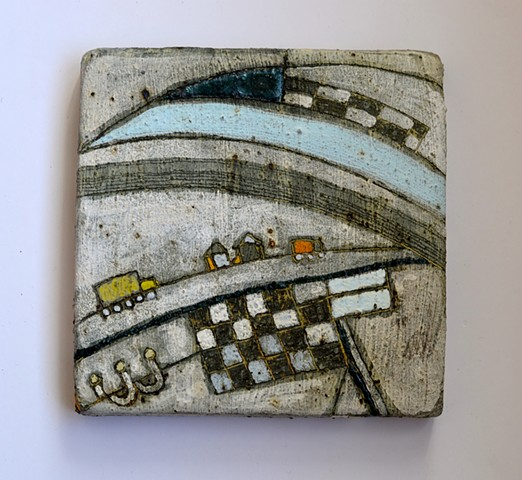 Handmade in clay, hand drawn, driving, winter, rural, agriculture, homes and trucks, water and roads.