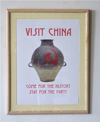 Chinese propaganda, Chinese Travel Poster, Michael Thompson Chicago Artist, Ironic Art, Political Art