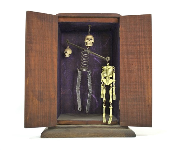 Joseph Cornell box, found object sculpture, skeleton sculpture, Beheadings,  Day of the Dead sculpture,  michael thompson chicago artist,