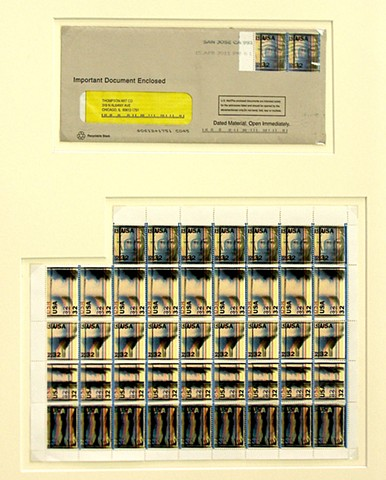 Fake Postage Stamp, Double Impression, Print offset