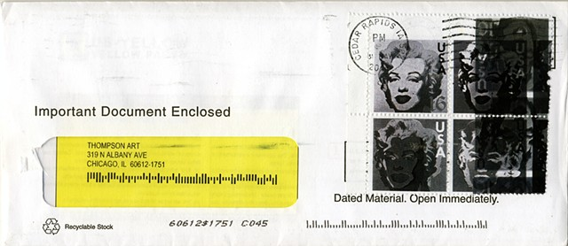 Marilyn Monroe postage stamp, fake stamps, overprinted postage stamp by Michael Thompson