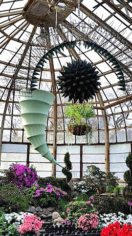 spring flower show, Lincoln Park Conservatory, hanging sculpture, Michael Thompson kites