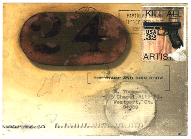 Kill All Artists, Fake stamp, Stamp and Coin Show, guns on stamps, artistamps
