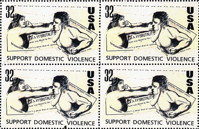 Domestic violence stamp, fake stamps, artistamps