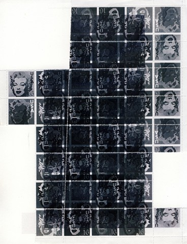 Inverted sheet of fake stamps, Marilyn Monroe