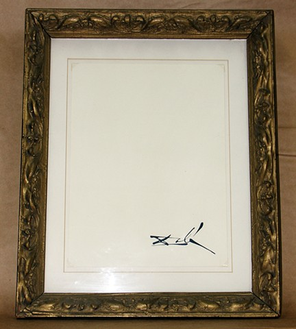 Dali signature, Dali signature on blank paper, Michael Thompson Chicago artist, fluxus art