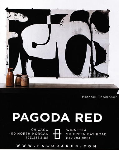 michael Thompson Chicago artist, decorative kite, kite, opening invitation to Pagoda Red, kite painting