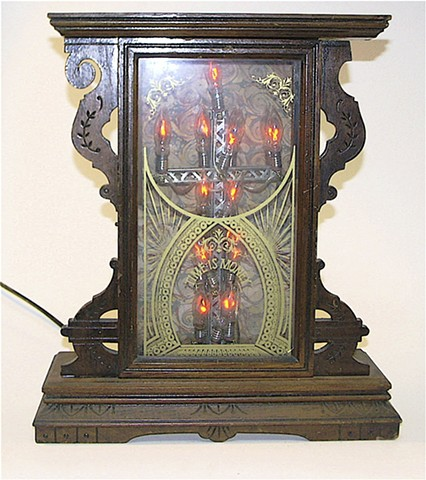 Clock, lamp, burning cross, Time is Money