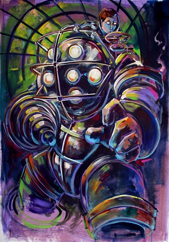 """Big daddy"" (""Bioshock"" Commission charlotte winter minicon 2014"