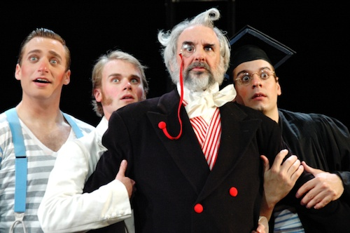 "Gremio (Jon Daly) surrounded by Biondello , Tranio ""as Lucentio"", and Lucentio ""as Tranio"" (left to right Zach Fine, Evan Fuller, Chris Hirsch)"