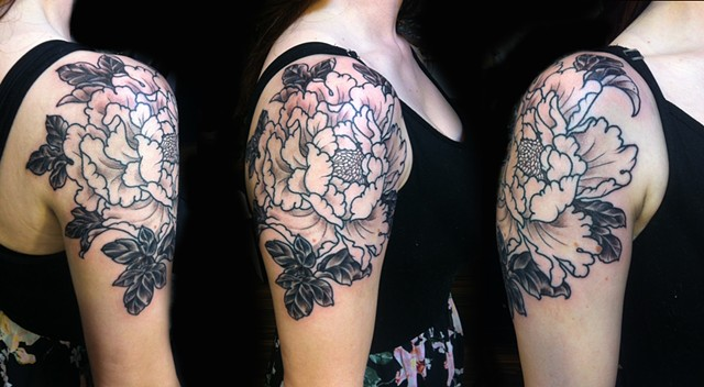 white peony tattoo traditional traditional tattoo tat tatts ink inked tattooed japanese flower half sleeve