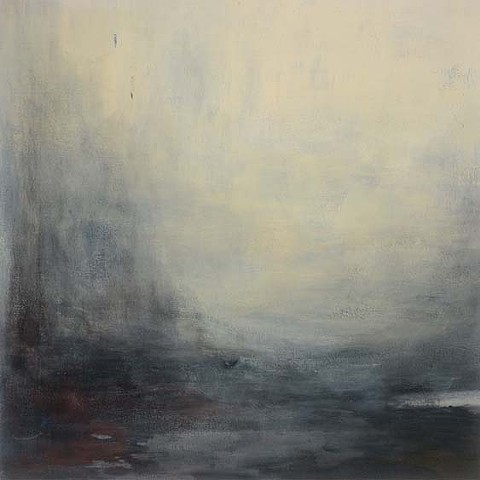Abstracted  contemporary atmospheric misty harbour view beiges browns grays acrylic on canvas by Margo Nimiroski