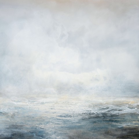 long view abstract contemporary atmospheric ocean and sky blues grays Acrylic on stretched canvas by Margo Nimiroski