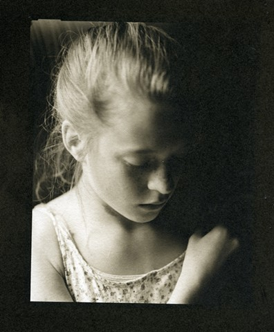 Portrait of a girl in fading light , Black and White Fine Art Photography