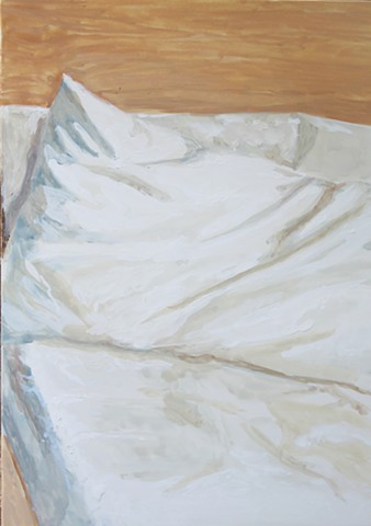Kari Dunham, 40 Days Forty Sacraments, Day 15, gouache painting bed sheets pillow