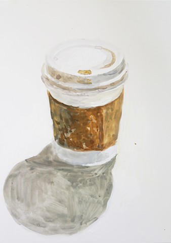 Kari Dunham, 40 Days Forty Sacraments, Day 13, gouache painting coffee cup
