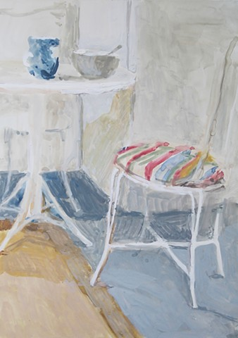Kari Dunham, 40 Days Forty Sacraments, Day 16, gouache painting interior table and chairs