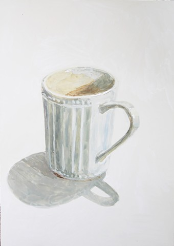 Kari Dunham, 40 Days Forty Sacraments, Day 6, gouache painting white mug