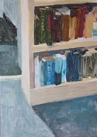 Kari Dunham, 40 Days Forty Sacraments, Day 11, gouache painting bookcase