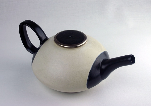 Black and White Teapot with Platinum Luster