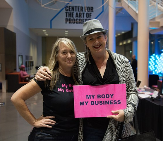 Michele Pred and Curator Christian Frock   #HerBodyHerVote  Yerba Buena Center for the Arts in SF