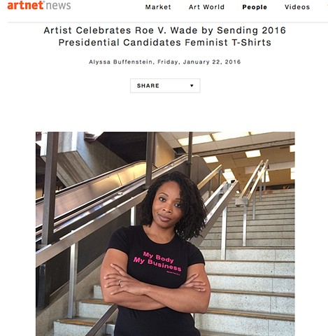 ArtNet Magazine article about Roe V Wade Action
