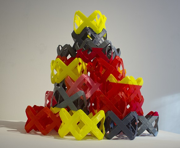 PLA, 3-d printed, xes, Holly Holmes, stacked x, tower
