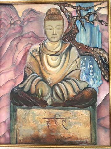 depiction of Buddha, Asian inspired art, oil on canvas, affordable art