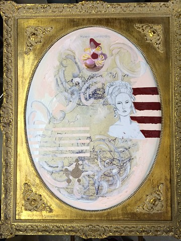 Marie Antoinette, feminine and glamorous art, oil on canvas, mixed media, art for sale, original art, gilt framed art