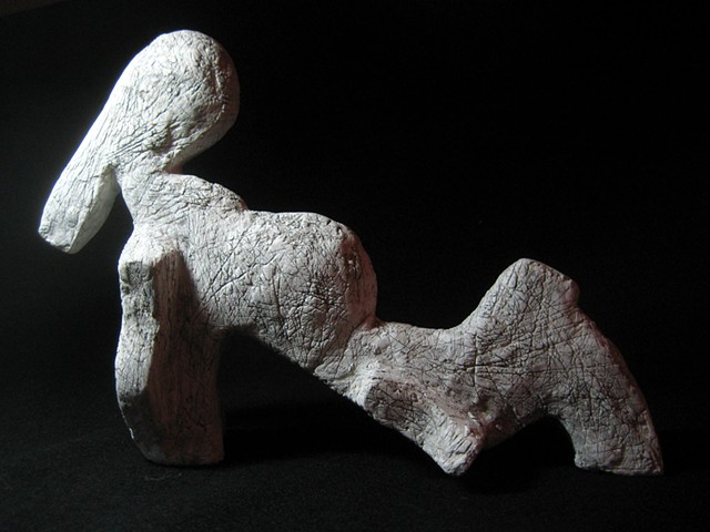 Plaster and graphite abstract sculpture