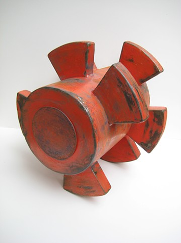 Painted steel abstract sculpture, geometric form,mweathered paint finish