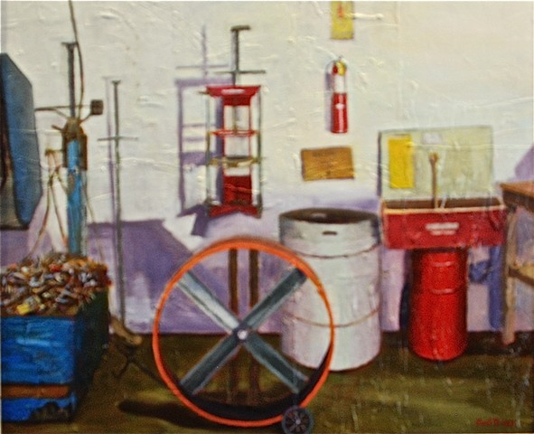 oil painting of garage and automotive tools by Joel Barr artist