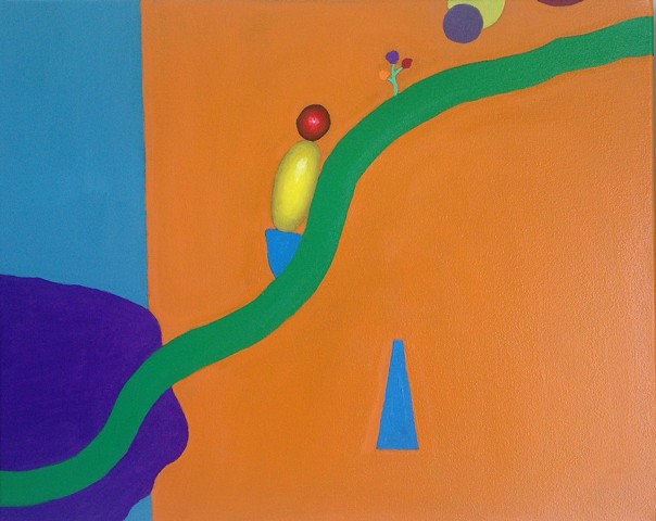 One symbolic oil painting in series of eleven with green line called Life Line by Joel Barr artist