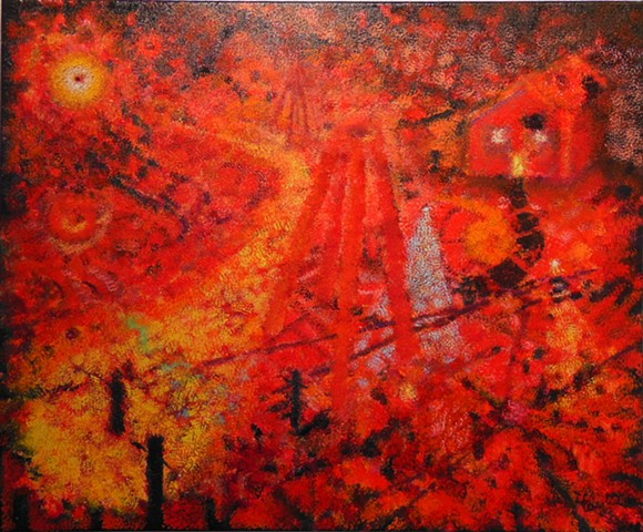 Surreal abstract oil painting in red by Joel Barr