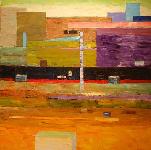 Abstract oil painting of a place of work, perhaps a factory by Joel Barr artist