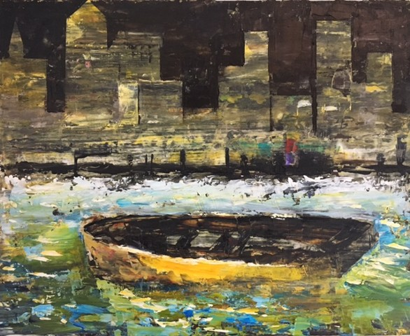 Oil painting on wood of yellow boat and city by Joel Barr artist