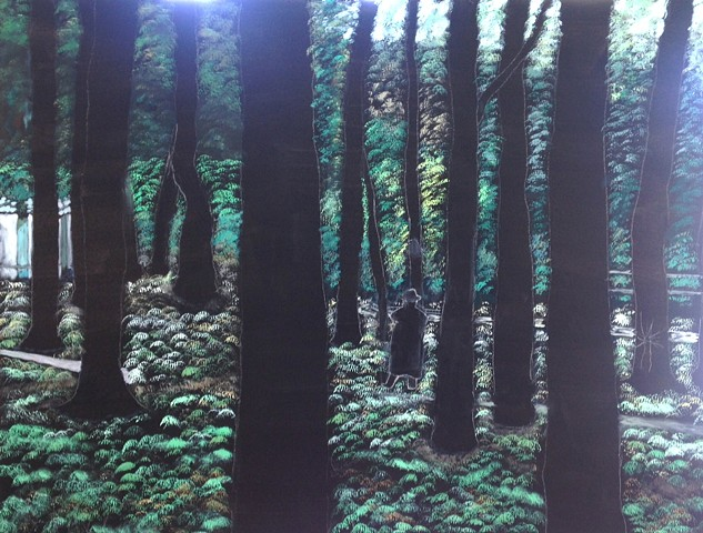 Mysterious abstract oil painting of trees and person by Joel Barr