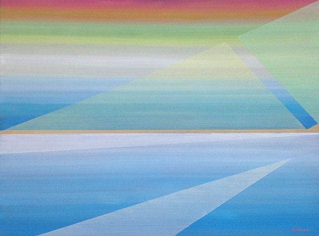 geometric abstract seascape with horizon and shore line in blues by Joel Barr artist