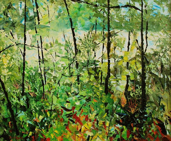 Abstract landscape of trees and river by Joel Barr artist