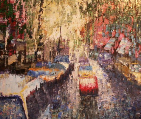 Abstract oil painting of New York City street scene by Joel Barr artist
