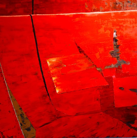 abstract oil painting of red elements by Joel Barr artist