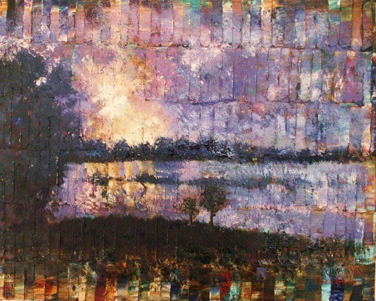 Color bar abstract oil painting with sunset by Joel Barr artist