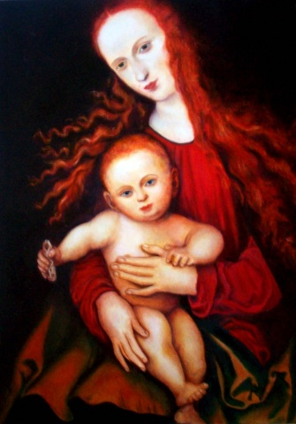 Master Copy: Madonna and Child with Piece of Bread: Lucas Cranach