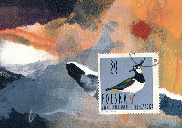 Monotype collage / postal stamp