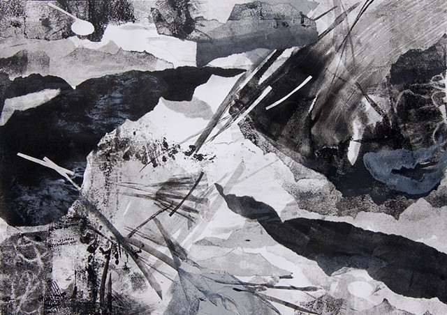 Monotype, black and white, abstract landscape